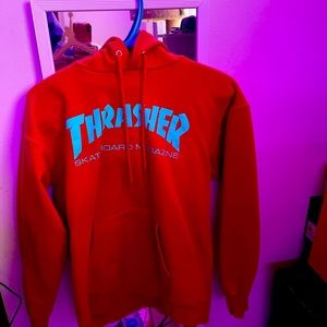 Red Thrasher pullover hoodie